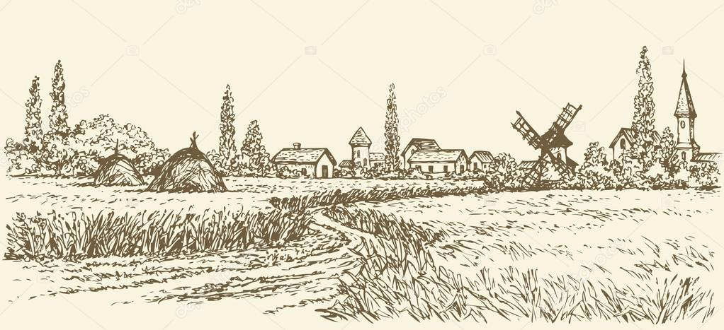 Vector landscape. Path through fields to old windmill