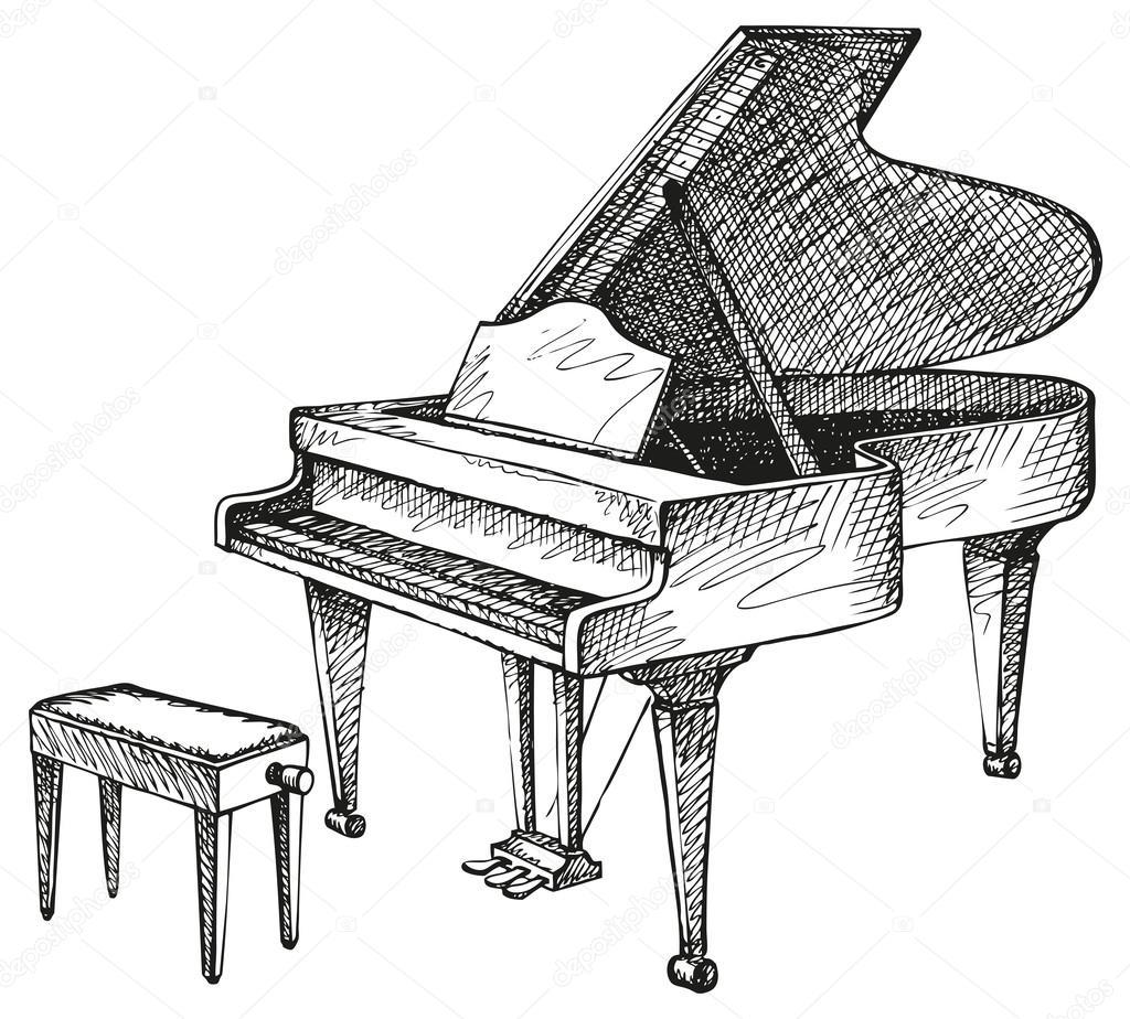 Dessin De Piano dessin de piano à queue ouverte et tabouret pour musicien vectoriel