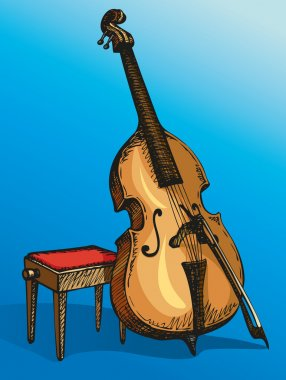 Vector Double Bass with a bow and stool for musician