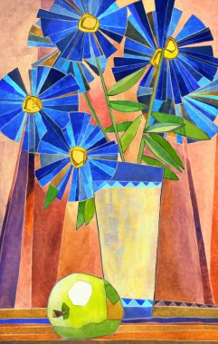 Stylized watercolor still life. Vase with large blue flowers