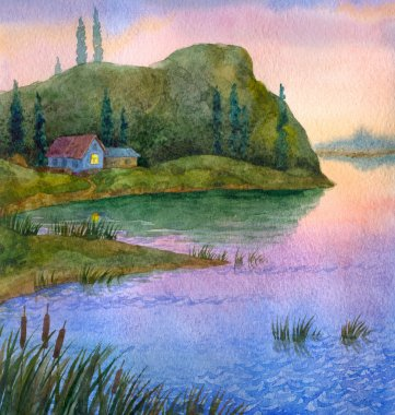 Watercolor landscape. House on the lake