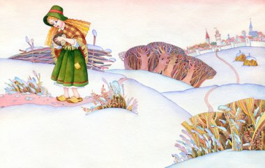 Watercolor picture. Poor girl goes on a snow-covered steppes