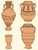 Vector picture of ancient vases with geometric ornament