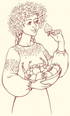 Vector picture. Girl in a lush wreath holding bowl of berries