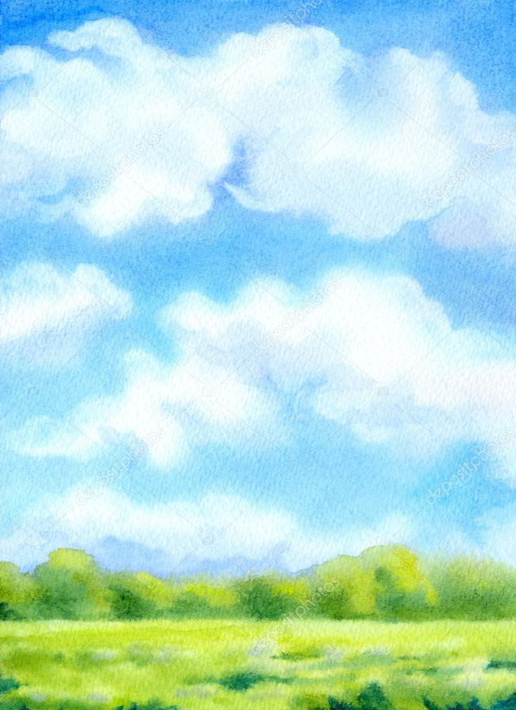 Watercolor background with white clouds on blue sky over sunlit