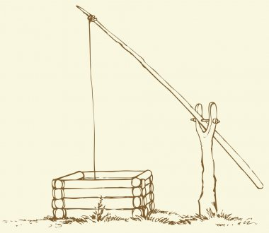 Vector drawing. Old wooden shadoof in the field