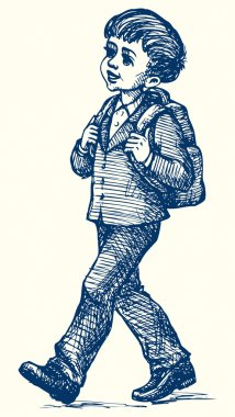 Vector image. Boy with backpack goes to school