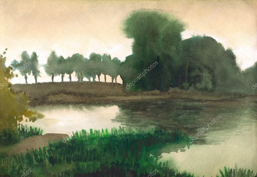 Watercolor landscape. Trees on the shore of quiet lake