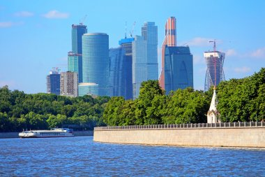 View on new Moscow City buildings in summer