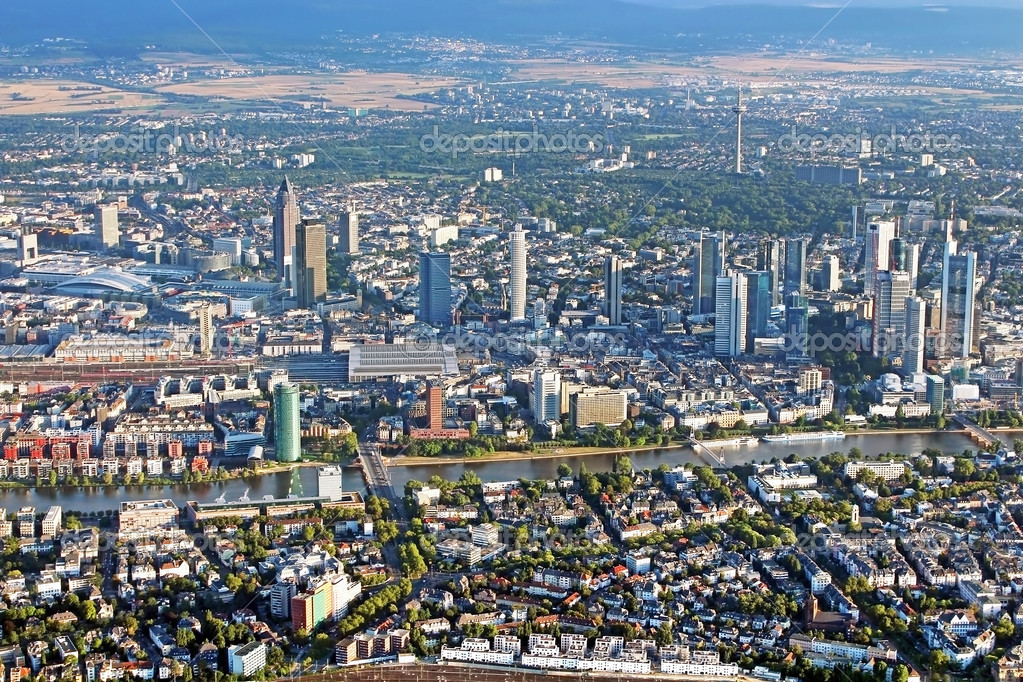 panoramic view of skyline frankfurt am main germany from. Black Bedroom Furniture Sets. Home Design Ideas