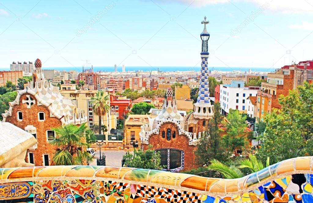 Ceramic Mosaic Park Guell In Barcelona Spain Is The Famous Architectural Town Art Designed By Antoni Gaudi And Built Years 1900 To 1914