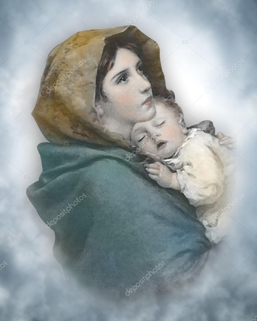 Madonna and Child Nativity watercolor — Stock Photo ...