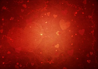 Red Valentine's day background with hearts
