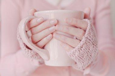 Tea. Woman holding tea cup. stock vector