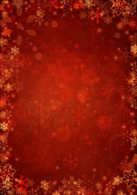 Winter red christmas background with snowflakes