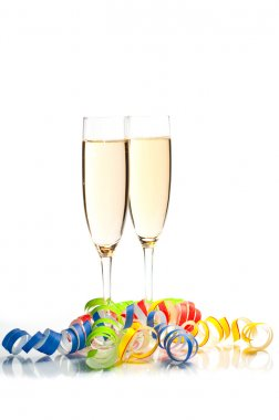 New years decoration on white background- champagne