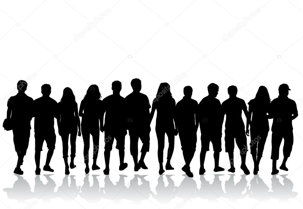 crowd of people vector silhouettes stock vector pablonis 35362227 rh depositphotos com crown vector crown vector free download