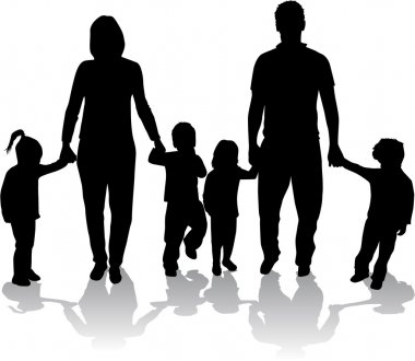 Large families. Black silhouettes. stock vector