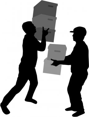 Silhouette of a man with boxes