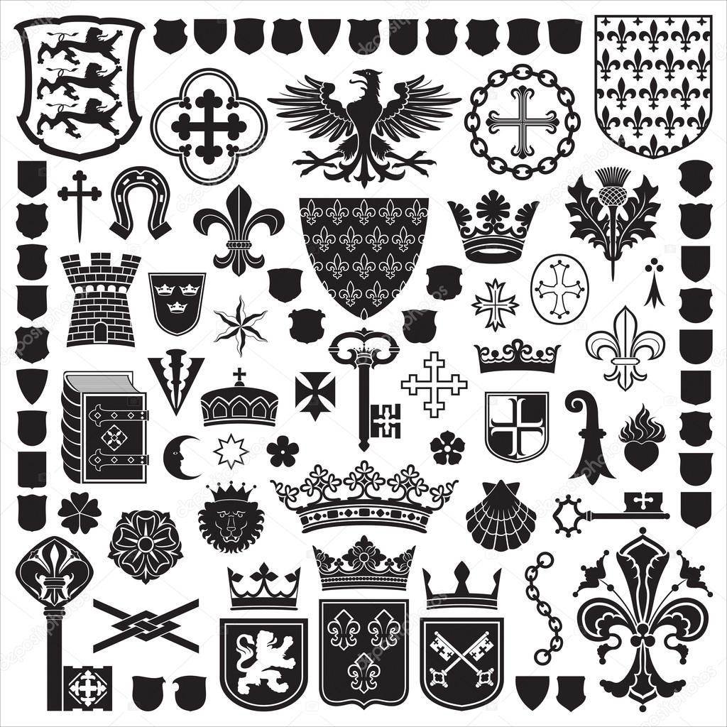 Heraldic symbols and decorations stock vector artyup 18525589 collection of old coats of arms heraldic shieldssymbols and elements collection of old coats of arms heraldic shieldssymbols and elements biocorpaavc Images