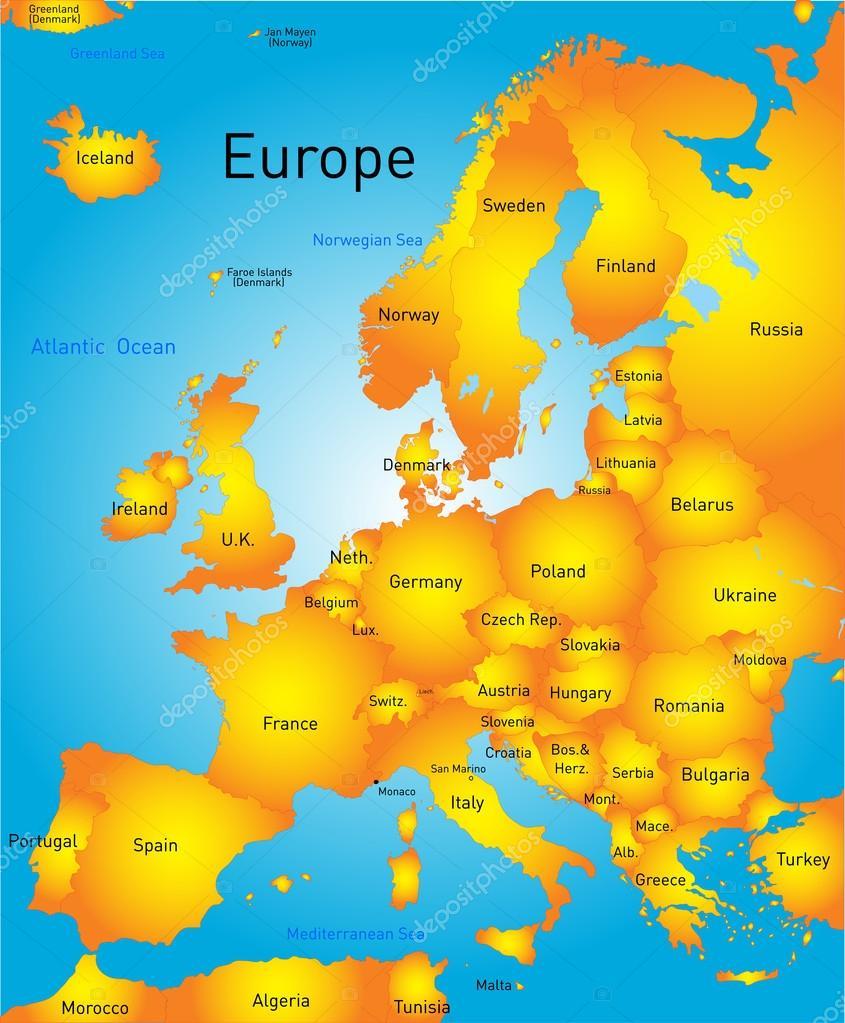 karta av europa karta över Europa — Stock Vektor © olinchuk #39099503 karta av europa