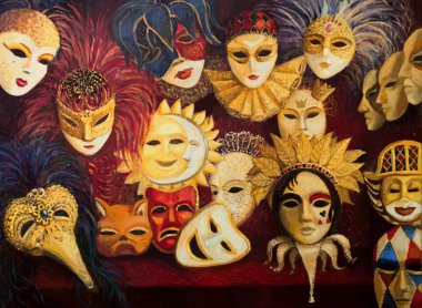 colorful ornate traditional venetian masks