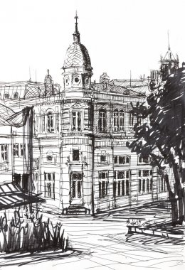 Ink Graphics of an Old Building in Bulgaria