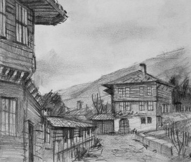 Drawing of Traditional Old Houses in Kotel