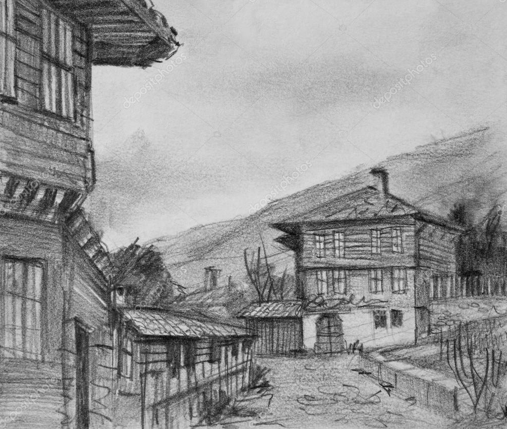 drawing of traditional old houses in kotel u2014 stock photo