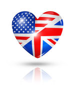 Love USA and UK, heart flag icon