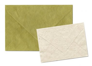 Natural recycled nepalese paper envelopes isolated on white with clipping path - parchment texture stock vector