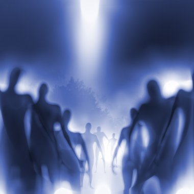 Grainy and blurry image of human-like beings approaching. stock vector