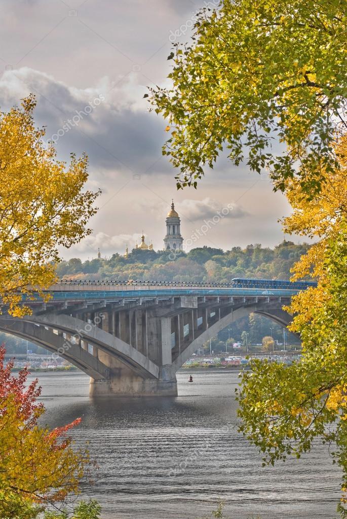 Beautiful autumn landscape of Kiev subway bridge