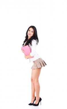 School student girl smile in short skirt