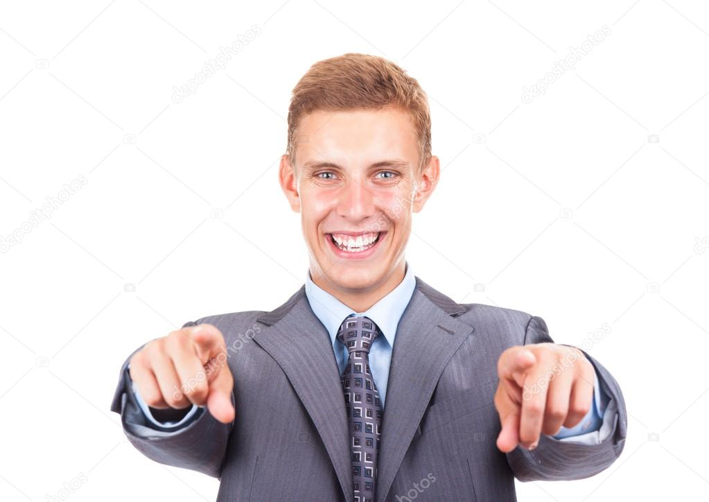 Yakışıklı Heyecanlı Genç Işadamı Işaret Parmağını Sana Stok Foto
