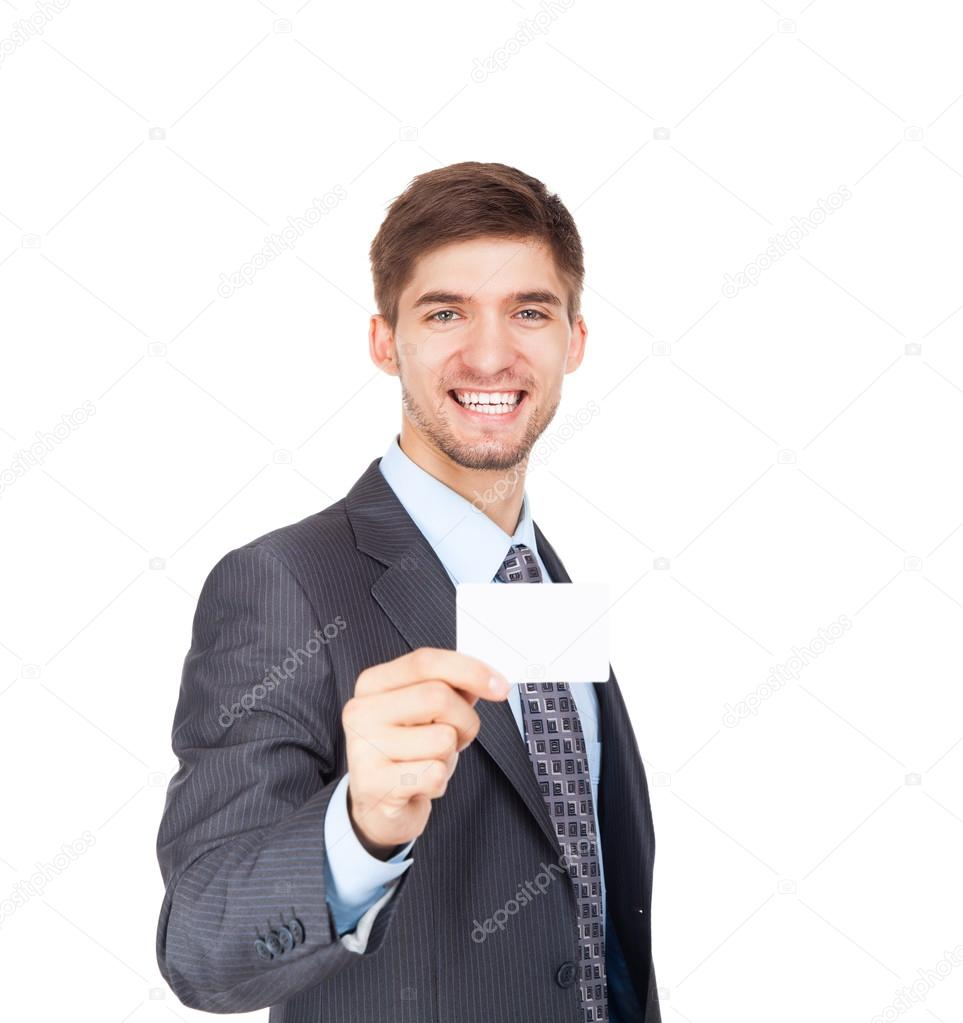 Business man holding a blank business card — Stock Photo © mast3r ...