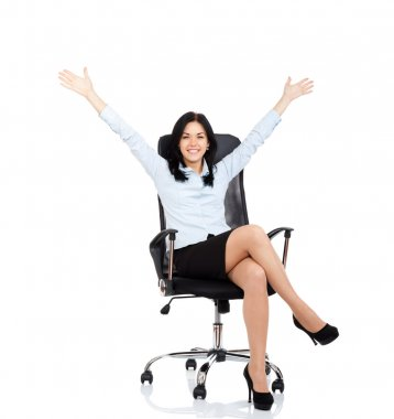 Business woman sitting in chair hold hands up