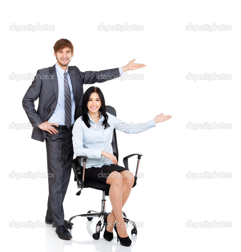 Man sitting in chair side - Business People Point Hand To Side Empty Copy Space Businesswoman Sitting In Chair Businessman Happy Smile Isolated Over White Background Photo By