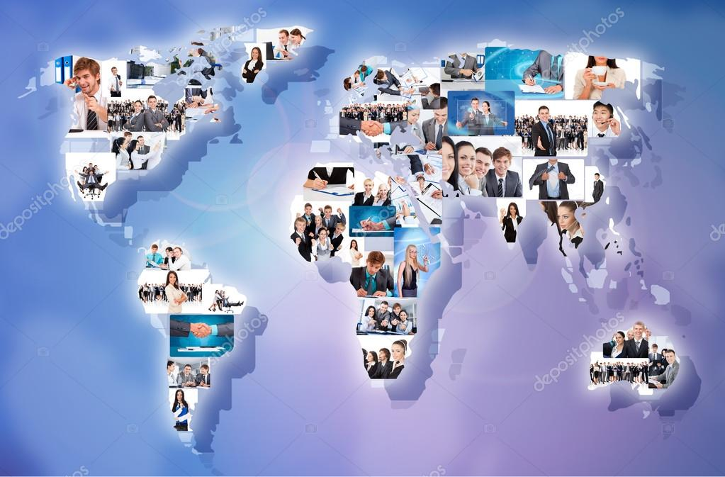 Businesspeople world map collage stock photo mast3r 31738511 business concept collage with businesspeople world map international people portrait communication photo by mast3r gumiabroncs Images