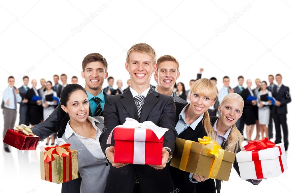 Businesspeople group holding present gift box