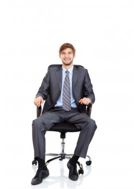 Businessman happy smile sitting in chair