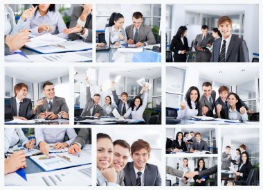 Collage of business people group working office