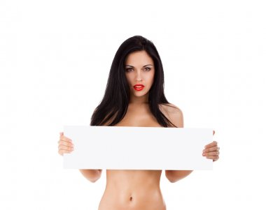 Sexy woman holding blank board