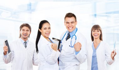 Excited medical doctors team
