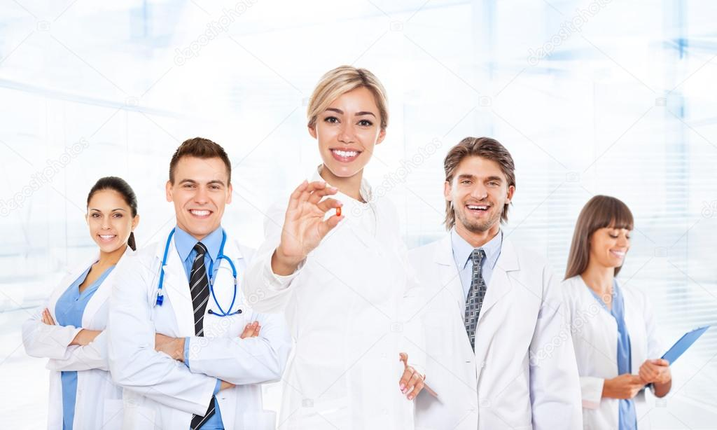 Excited medical doctors team