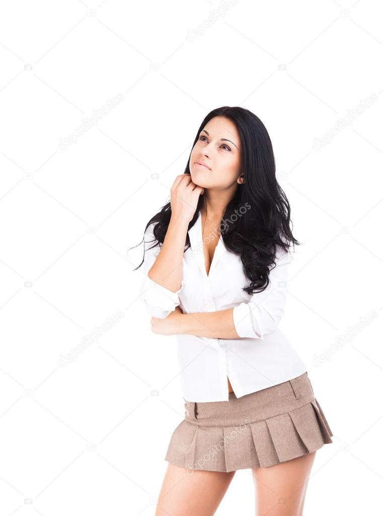 9bb58f4f2274b5 Sexy school student meisje in korte rok geïsoleerd op witte achtergrond —  Foto van ...