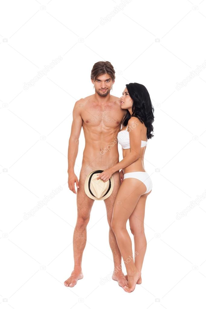 Woman Covering Naked Male Genitals With Summer Hat  Stock -8594