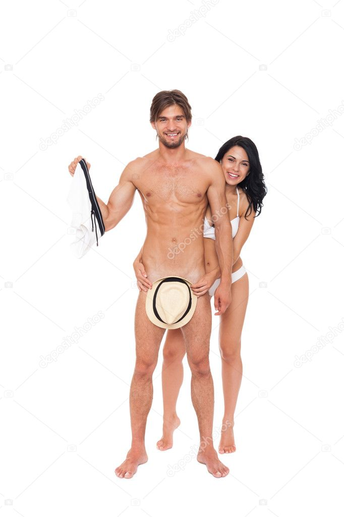 Woman Covering Naked Male Genitals With Summer Hat  Stock -7216