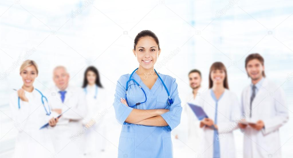Female surgeon doctor with team