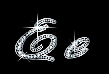 Script Diamond Bling Ee Letters
